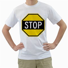 Road Sign Stop Men s T Shirt (white) (two Sided)