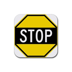 Road Sign Stop Rubber Square Coaster (4 Pack)  by Alisyart