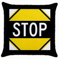 Road Sign Stop Throw Pillow Case (black) by Alisyart