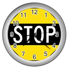 Road Sign Stop Wall Clocks (silver)  by Alisyart
