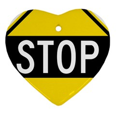 Road Sign Stop Heart Ornament (two Sides)