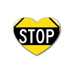 Road Sign Stop Rubber Coaster (heart)