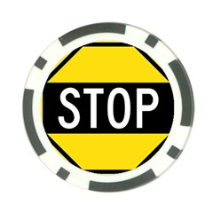 Road Sign Stop Poker Chip Card Guard
