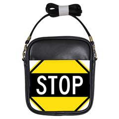 Road Sign Stop Girls Sling Bags by Alisyart