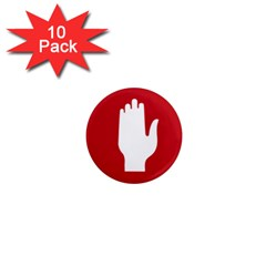 Road Sign Stop Hand Finger 1  Mini Magnet (10 Pack)  by Alisyart