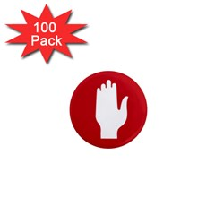 Road Sign Stop Hand Finger 1  Mini Magnets (100 Pack)