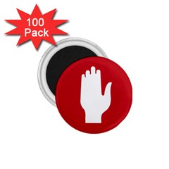 Road Sign Stop Hand Finger 1 75  Magnets (100 Pack)  by Alisyart