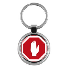 Road Sign Stop Hand Finger Key Chains (round)