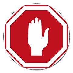 Road Sign Stop Hand Finger Magnet 5  (round) by Alisyart