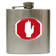 Road Sign Stop Hand Finger Hip Flask (6 Oz) by Alisyart
