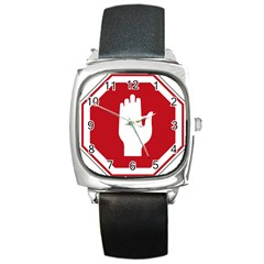 Road Sign Stop Hand Finger Square Metal Watch by Alisyart