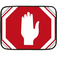 Road Sign Stop Hand Finger Fleece Blanket (mini)