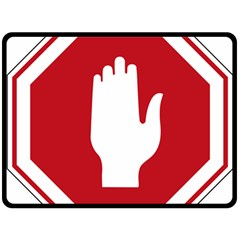 Road Sign Stop Hand Finger Fleece Blanket (large)  by Alisyart