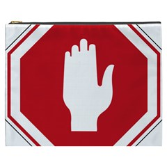 Road Sign Stop Hand Finger Cosmetic Bag (xxxl)