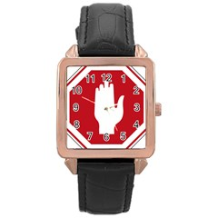 Road Sign Stop Hand Finger Rose Gold Leather Watch
