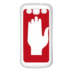 Road Sign Stop Hand Finger Samsung Galaxy S3 Back Case (white)