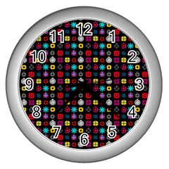 N Pattern Holiday Gift Star Snow Wall Clocks (silver)