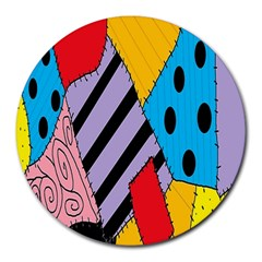 Sally s Patchwork Pattern Round Mousepads by Alisyart