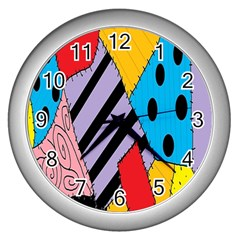 Sally s Patchwork Pattern Wall Clocks (silver)