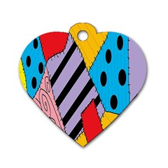 Sally s Patchwork Pattern Dog Tag Heart (two Sides)