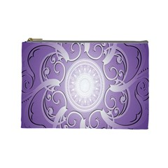 Purple Background With Artwork Cosmetic Bag (large)  by Alisyart
