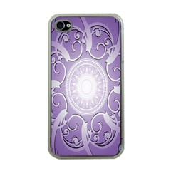 Purple Background With Artwork Apple Iphone 4 Case (clear)