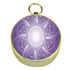 Purple Background With Artwork Gold Compasses