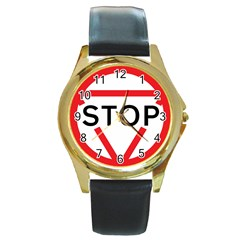 Stop Sign Round Gold Metal Watch by Alisyart