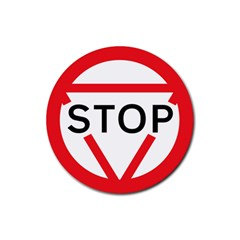 Stop Sign Rubber Round Coaster (4 Pack)  by Alisyart