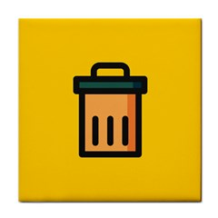Trash Bin Icon Yellow Tile Coasters
