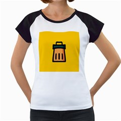 Trash Bin Icon Yellow Women s Cap Sleeve T