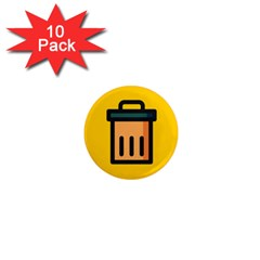 Trash Bin Icon Yellow 1  Mini Magnet (10 Pack)  by Alisyart