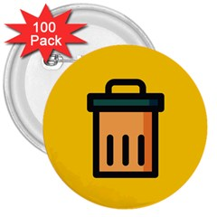 Trash Bin Icon Yellow 3  Buttons (100 Pack)  by Alisyart
