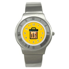 Trash Bin Icon Yellow Stainless Steel Watch by Alisyart