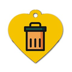Trash Bin Icon Yellow Dog Tag Heart (two Sides)