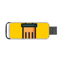 Trash Bin Icon Yellow Portable Usb Flash (one Side)