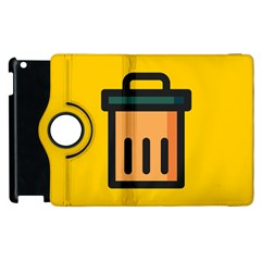 Trash Bin Icon Yellow Apple Ipad 3/4 Flip 360 Case