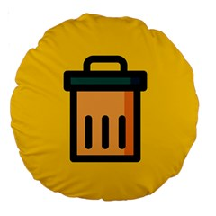 Trash Bin Icon Yellow Large 18  Premium Round Cushions