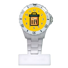 Trash Bin Icon Yellow Plastic Nurses Watch