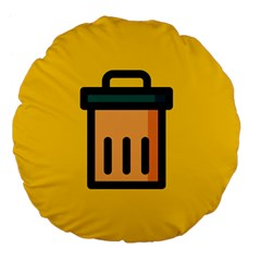 Trash Bin Icon Yellow Large 18  Premium Flano Round Cushions