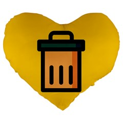 Trash Bin Icon Yellow Large 19  Premium Flano Heart Shape Cushions