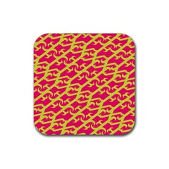 Typeface Variety Postcards Unique Illustration Yellow Red Rubber Square Coaster (4 Pack)  by Alisyart