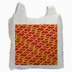 Typeface Variety Postcards Unique Illustration Yellow Red Recycle Bag (one Side)