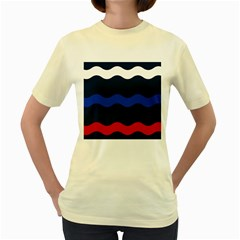 Wave Line Waves Blue White Red Flag Women s Yellow T Shirt by Alisyart