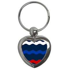 Wave Line Waves Blue White Red Flag Key Chains (heart)  by Alisyart