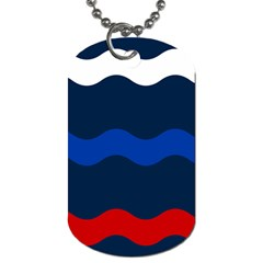 Wave Line Waves Blue White Red Flag Dog Tag (one Side)