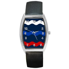 Wave Line Waves Blue White Red Flag Barrel Style Metal Watch