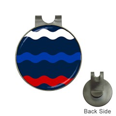 Wave Line Waves Blue White Red Flag Hat Clips With Golf Markers by Alisyart