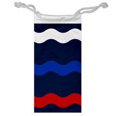 Wave Line Waves Blue White Red Flag Jewelry Bag by Alisyart