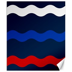Wave Line Waves Blue White Red Flag Canvas 8  X 10